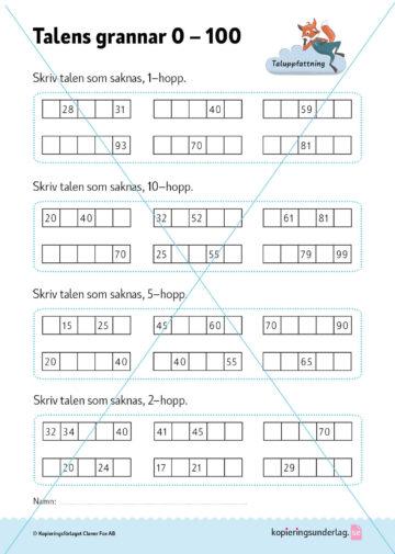 Kopieringsunderlaget ger träning på talens grannar 0-10.